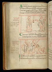 Coloured-Line Drawings Of Hope And Lowliness, In Prudentius, Psychomachia f.16v